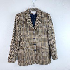 VTG Jones NY Houndstooth Plaid Wool Women's Blazer
